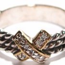 925 Sterling Silver Designer Style Twisted Cable CZ Ring WR105 Sz 5, 8