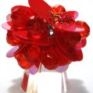 Trendy RED Dazzling Sequin Beads Cha Cha Ring OS39