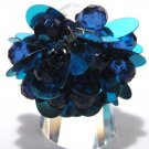 Trendy DARK BLUE Dazzling Sequin Beads Cha Cha Ring OS39