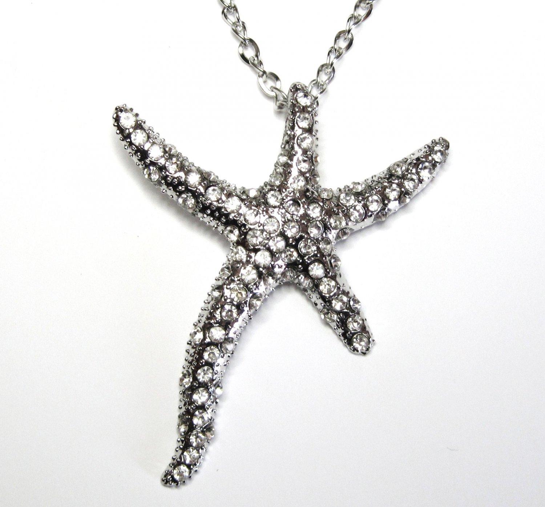 "3"" CZ Pave Starfish Chunky Necklace Sweater Pendant NP56"