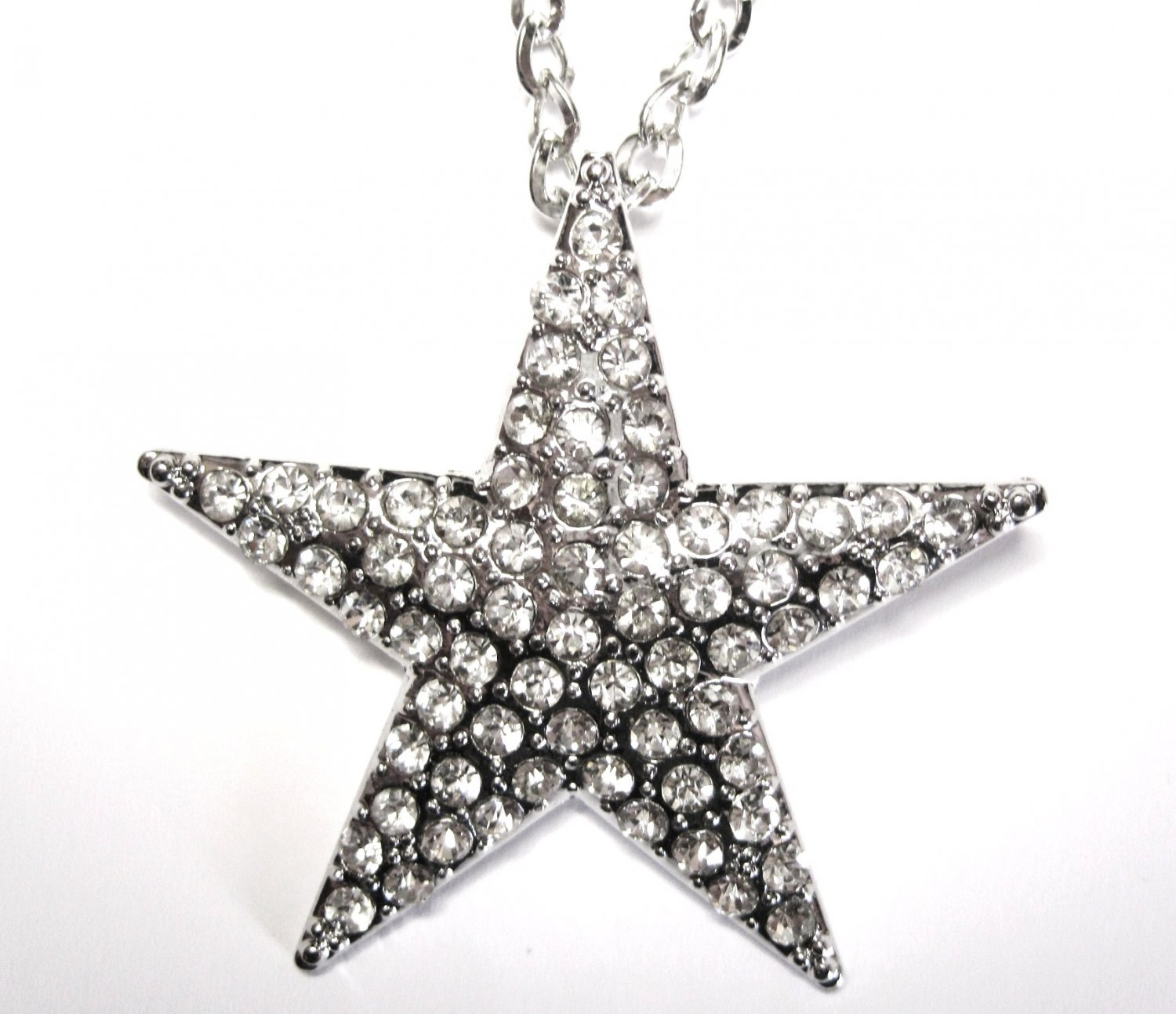 "2.25"" CZ Star Hip Hop Chunky Necklace Sweater Pendant NP57"