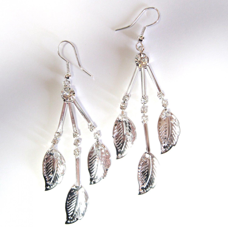 "3"" Dangle Leaf Clear CZ Earrings EA162"