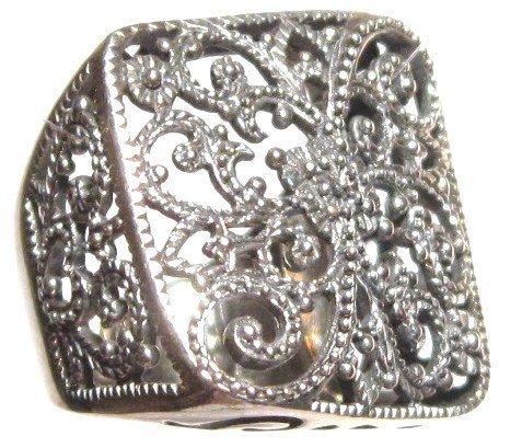 Stunning Wavy Square Filigree 925 Sterling Silver Fashion Ring WR107 Sz 6.5