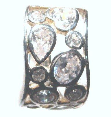 925 Sterling Silver Wavy Bubble CZ Fashion Ring WR109 Sz 8