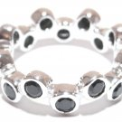 925 Sterling Silver Black CZ Bubble Eternity Ring WR112 Sz 6