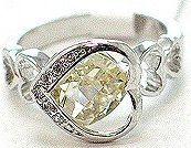 925 Sterling Silver CZ Heart Ring WR116 Sz 8