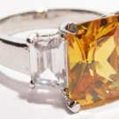 Sparkling Gold Clear CZ Rhodium Finish Ring WR117 Sz 8