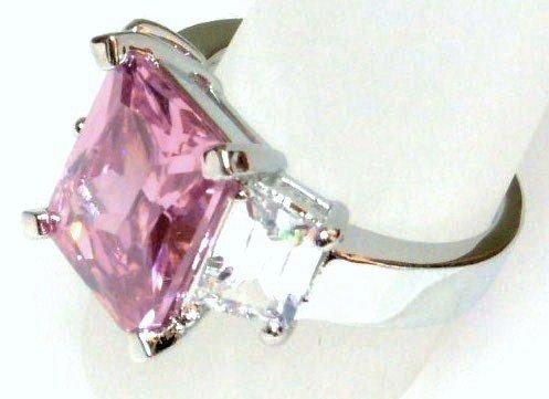 Sparkling Pink Clear CZ RhodiumRing WR118 Sz 6