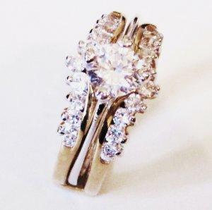 14K Gold EP Sparkling CZ Engagement Wedding Ring Set WR119 Sz 7