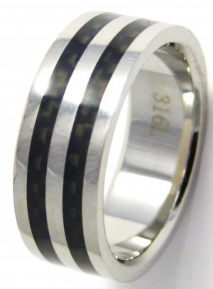 8mm Black Carbon Fiber High Polish Stainless Steel Ring SSR02 Sz 9 or 11