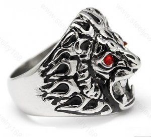 Lion Head Chunky Stainless Steel Ring SSR04, Sz 8