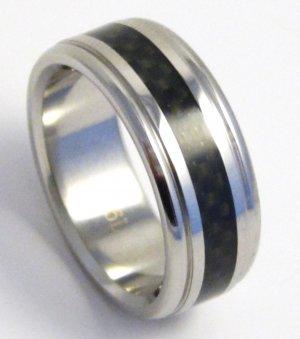 8mm Black Carbon Fiber Stainless Steel RIng SSR03 Sz 13