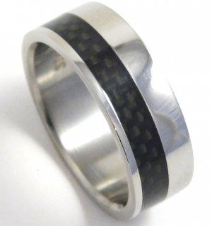 Black Carbon Fiber Stainless Steel Ring, SSR05 Sz. 13