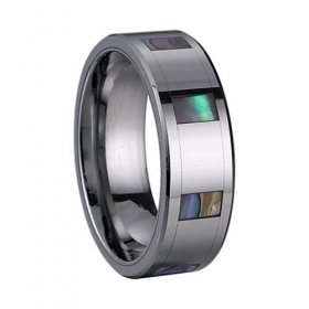 Abalone Shell Inlay Tungsten Carbide Ring TU6003 Sz 4 to 14