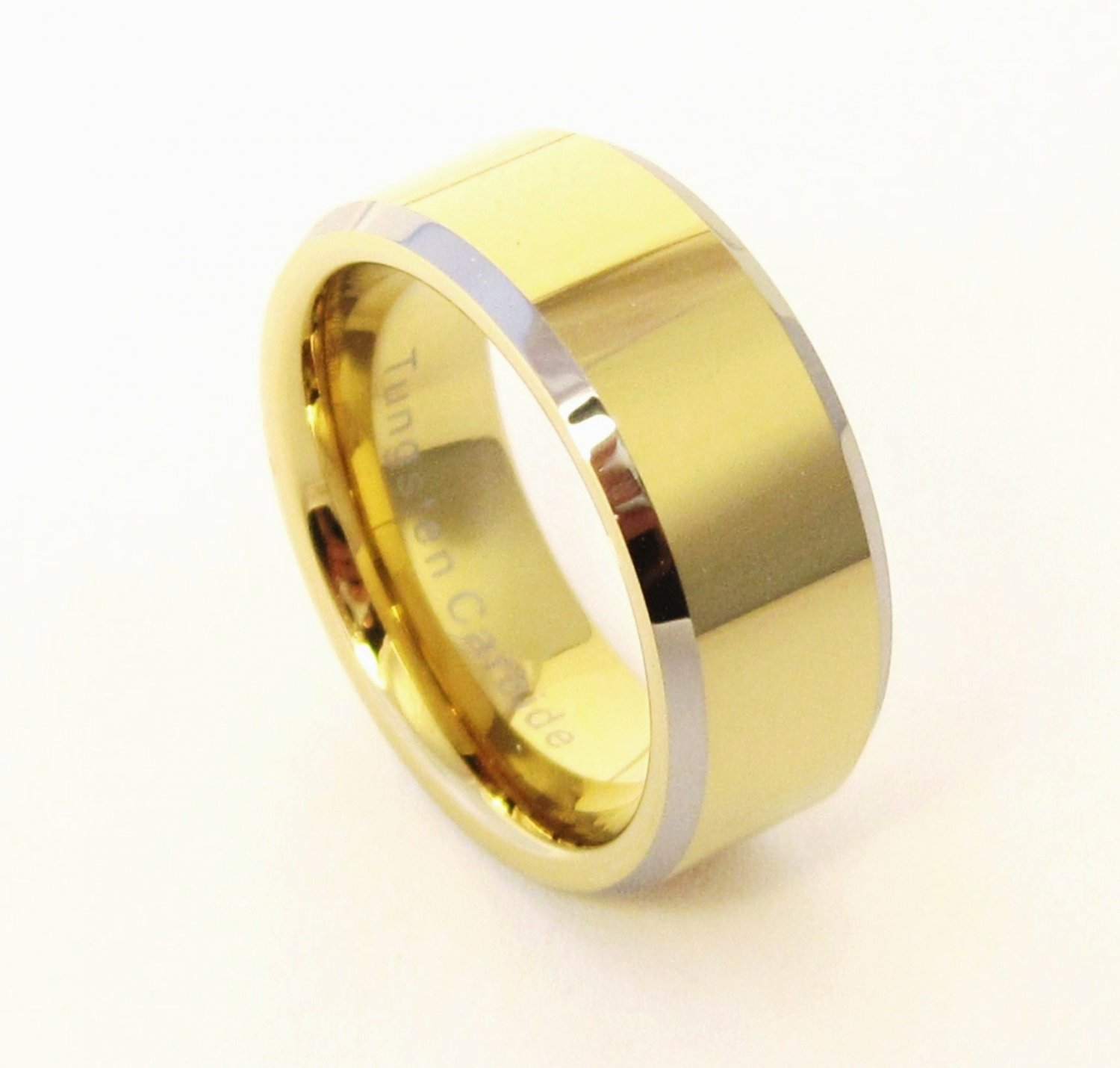 9mm Unisex Gold Tungsten Carbide Ring TU6002 Sz 5,6,7,13,14