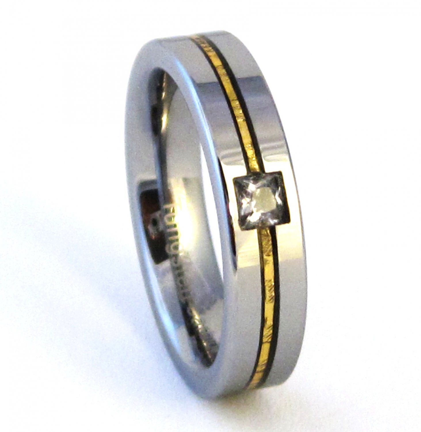 Unisex Square CZ Gold Stripe Tungsten Carbide Wedding Band Ring TU6001 Sz 5 to 14