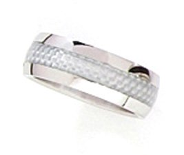 8mm Silver Carbon Fiber Stainless Steel Ring SSR06 Sz 13