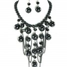 Glossy Black Beads Chunky Necklace Set NP04