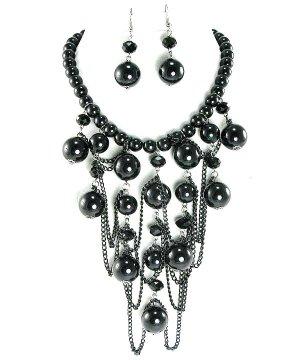 Glossy Black Beads Chunky Necklace Set NP04