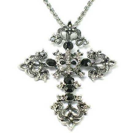 Antique Silver Black Diamond CZ Cross Pendant Necklace NP09