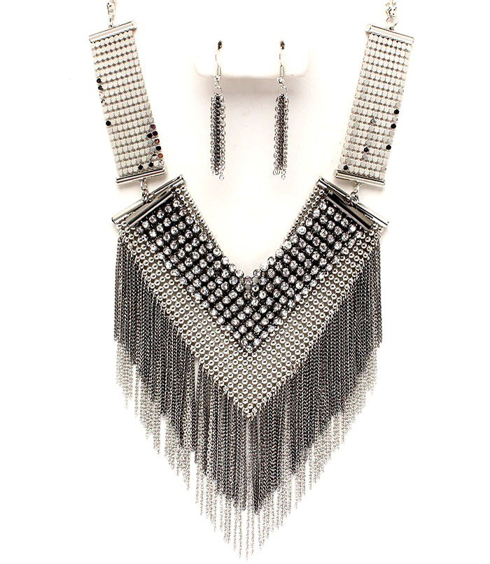 Sexy Mesh Chains CZ Paved Silver Black Tassle Chains Necklace Earrings Set NP1006