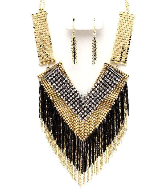 Sexy Mesh Chains CZ Paved Gold Black Tassle Chains Necklace Earrings Set NP1007