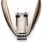 Stunning 8 Multicolor Mesh Chains CZ Tube Chunky Necklace Earrings Set NP1012