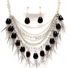 Chunky Multistrand Black Natural Stone Chains Spike Necklace Earrings NP1017