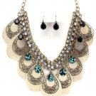 Chunky Metal Discs Beads CZ Antique Gold Necklace Earrings NP1022
