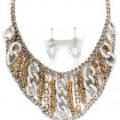 Chunky Multitone Clear CZ Chain Link Bib Necklace Earrings Set NP1023