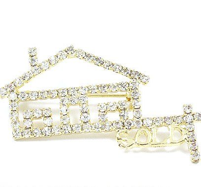 Realtors Sold House Real Estate Crystal Pave 14k Gold EP Brooch BP44