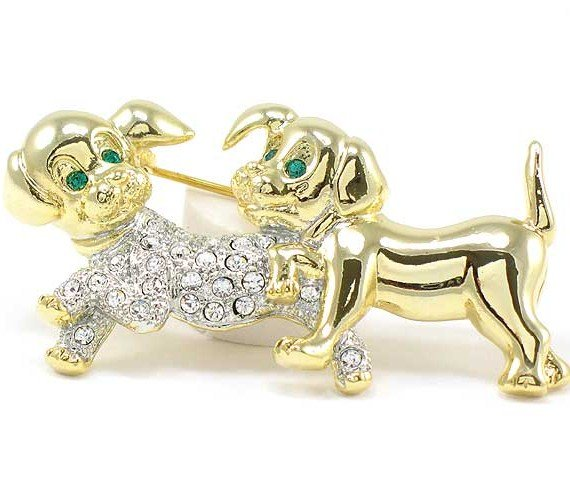 """2"""" Adorable Crystal Pave Puppy Dog Puppies Brooch Pin BP69"""