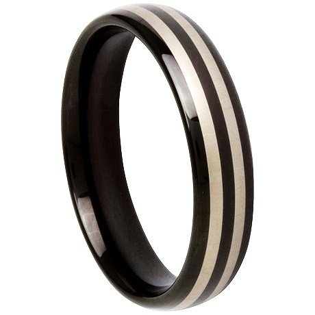 High Gloss Black Tungsten Carbide Ring TU6005