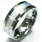 8mm Silver Carbon Fiber Tungsten Carbide Ring TU5078