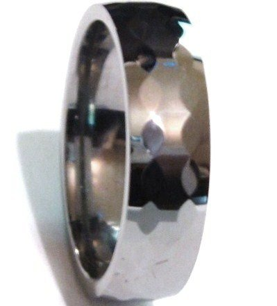 6mm High Polish Multi Faceted Tungsten Carbide Ring TU3048 Sz 9.5