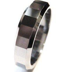 High Polish Faceted Tungsten Carbide Ring TU3038 Sz 11
