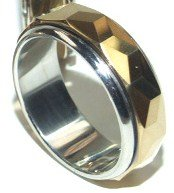 Tungsten Carbide Gold Spinning Rotating Ring TU3000
