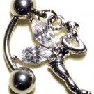CLEAR Austrian Crystal Reverse Fairy Dangle Stainless Steel Belly Ring BJ17