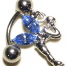 BLUE Austrian Crystal Reverse Fairy Dangle Stainless Steel Belly Ring BJ17