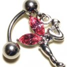 PINK Austrian Crystal Reverse Fairy Dangle Stainless Steel Belly Ring BJ17