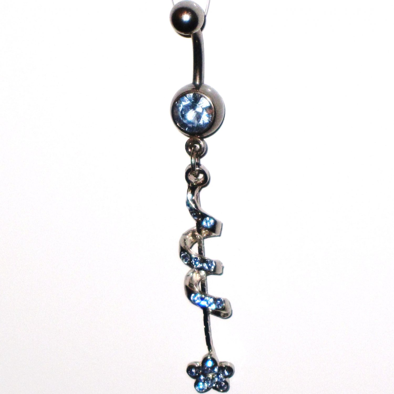 BLUE Austrian Crystal Spiral Flower Dangle Stainless Steel Belly Ring BJ43