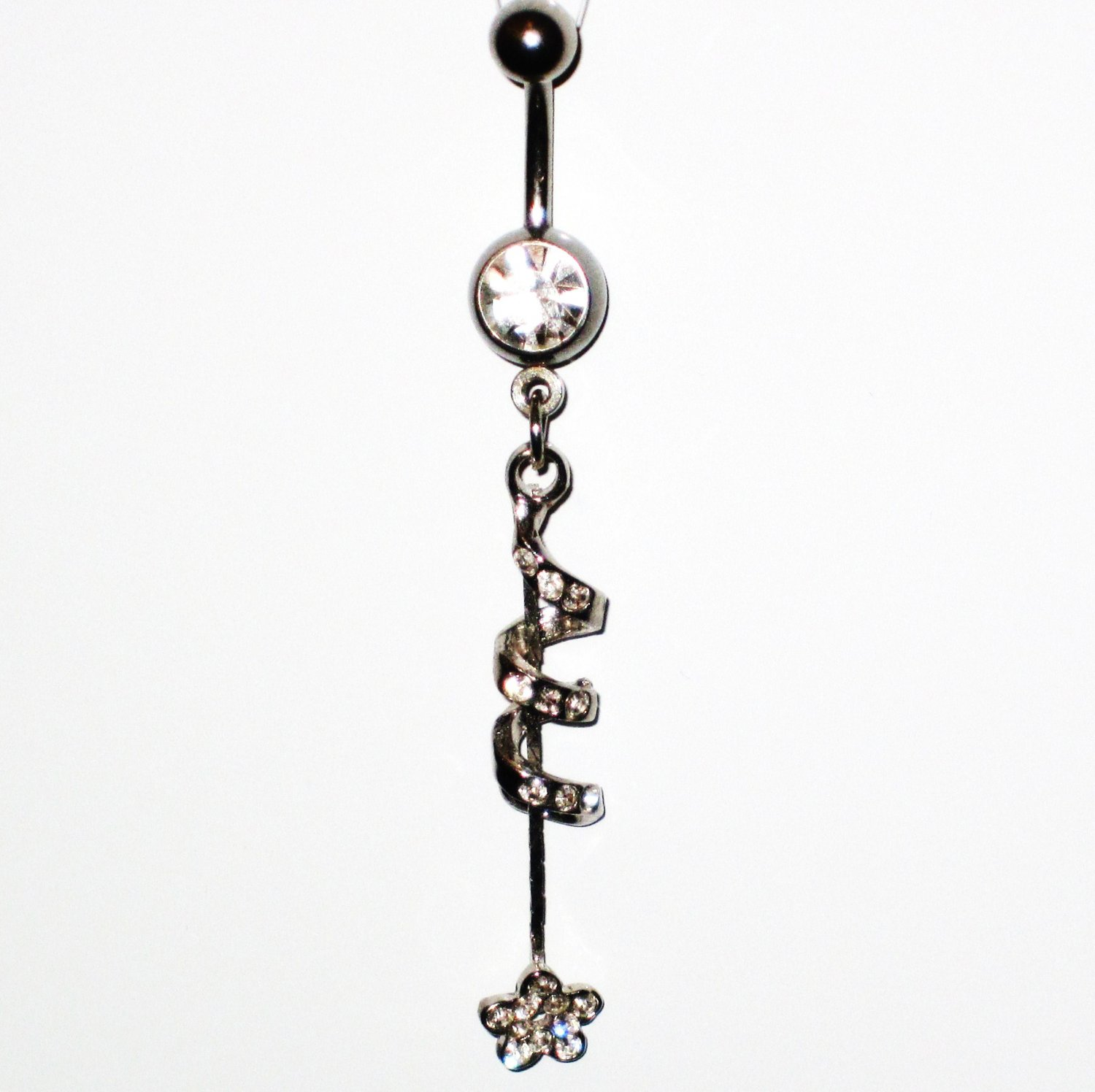 CLEAR Austrian Crystal Spiral Flower Dangle Stainless Steel Belly Ring BJ43