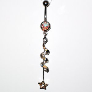 AB Austrian Crystal Spiral Star Dangle Stainless Steel Belly Ring BJ44