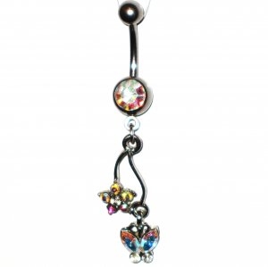 AB Austrian Crystal Butterfly Flower Dangle Stainless Steel Belly Ring BJ42