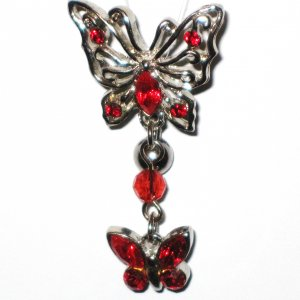 Red Austrian Crystal Reverse Butterfly Dangle Belly Ring BJ16