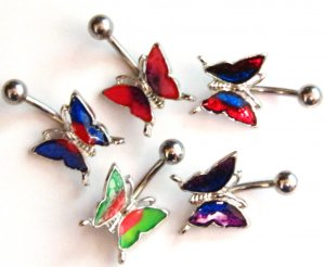 5 Assorted Color Iridescent Butterfly Belly Ring BJ55