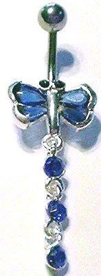 Dragonfly BLUE Crystal Dangle Belly Navel Ring BJ35