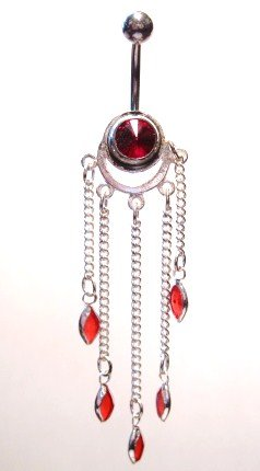 Sexy Red Crystal 5 Dangle Navel Belly Ring BJ34
