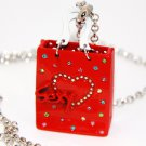 3D Crystal Heart Red Shopping Bag Sweater Pendant NP21