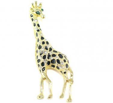 Unique Clear Crystal Gold EP Black Enamel Giraffe Brooch Pin BP12